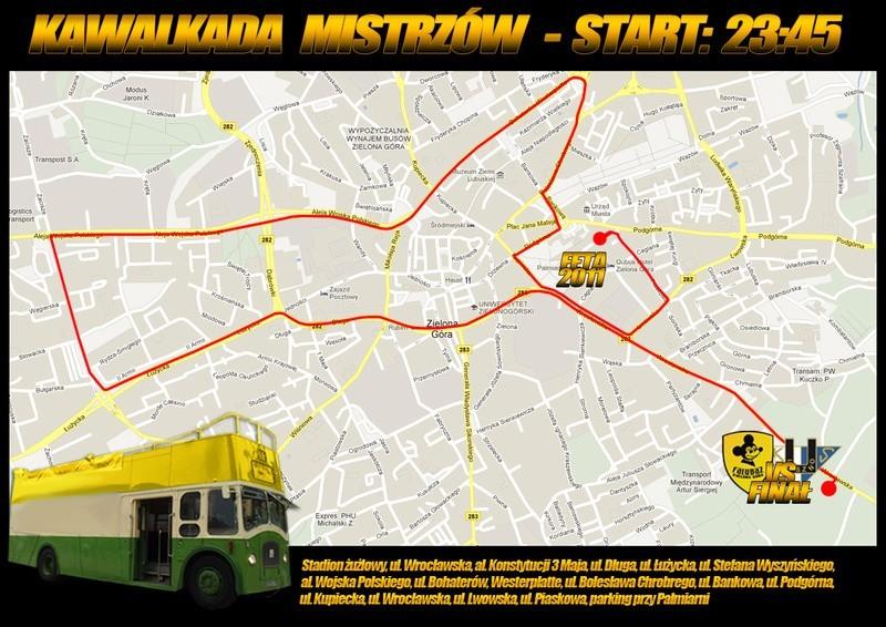 Mapa przejazdu Kawalkady Mistrzów w Zielonej Górze