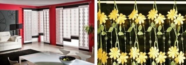 Zasłony panelowe mogą pełnić rolę obrazów. Pamiętajcie, że ze względu na swój rozmiar będą dominującym elementem wystroju pomieszczenia. W pomieszczeniach typu retro dobrze będą wyglądały zazdrostki. Oryginalne, ręcznie robione kwiatki podkreślą swojski klimat .