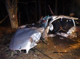 Tragedia pod Opalenicą. Bmw roztrzaskało się na kilku drzewach - nie żyje kierowca [ZDJĘCIA]