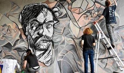 Mural i mozaikę w kształcie głowy Wyspiańskiego można już oglądać pod rondem Mogilskim Fot. Karolina Kaczyńska