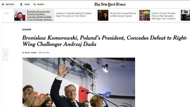 The New York Times już na samym początku artykułu zamieszcza informację, że Bronisław Komorowski został pokonany przez fotogenicznego, prawicowego polityka Prawa i Sprawiedliwości.
