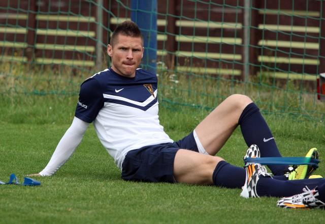 Marcin Robak podczas swojego pierwszego treningu po powrocie do Pogoni.