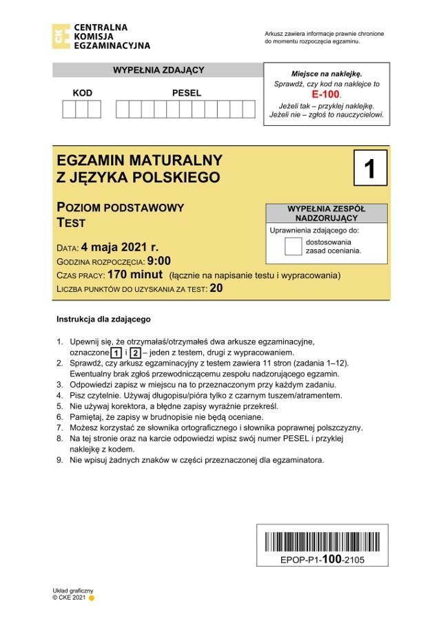 Matura z języka polskiego CKE 2021
