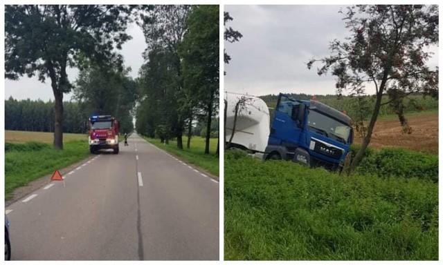 Kalnica. Wypadek ciężarówki z cementem