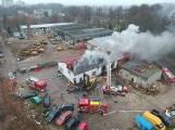 Akcja gaśnicza pożaru w Stargardzie na zdjęciach z lotu ptaka