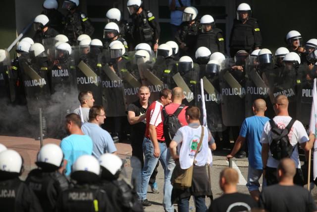 Demonstracja górników w Sosnowcu i Katowicach