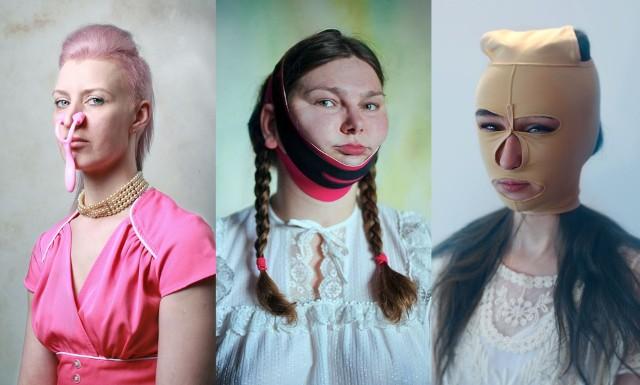"""Fotografka Evija Laivina znalazła w internecie gadżety, które mają za zadanie poprawienie urody w domowym zaciszu, bez kosztownych zabiegów w gabinetach medycyny estetycznej. Czy działają? Trudno powiedzieć, jednak wyglądają na tyle niepokojąco, że fotografka postanowiła użyć ich w sesji zdjęciowej, tworząc projekt """"Beauty Warriors""""."""