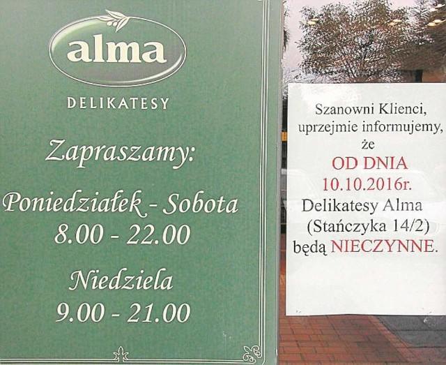 Klienci Almy przy ul. Stańczyka w Krakowie już nie zrobią tam zakupów