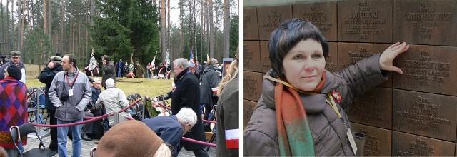 Danuta Sycz z Drawska Pomorskiego na cmentarzu w Katyniu, przy tablicy pamiątkowej poświęconej jej dziadkowi Karolowi Świszczewskiemu.