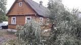 Kruszyniany. Połamane drzewo zerwało linię energetyczną i uszkodziło dwa kampery [ZDJĘCIA]