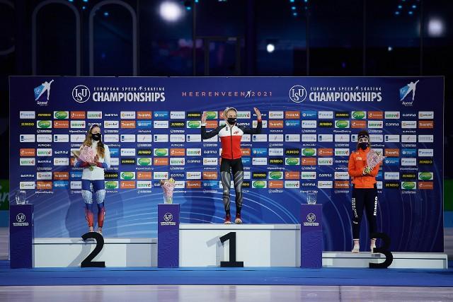 Karolina Bosiek zajęła pierwsze miejsce w rywalizacji na 500 metrów podczas mistrzostw Europy w łyżwiarskim wieloboju w Heerenveen