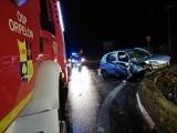 Wypadek pod Dobroniem. Auto wypadło z drogi, kierowca poważnie ranny ZDJĘCIA