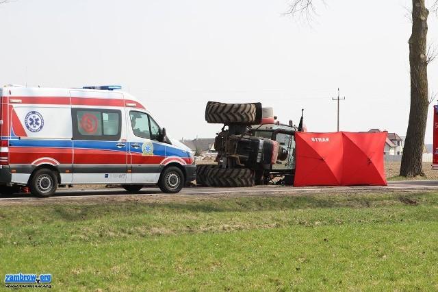Długobórz: Wypadek na DK 63. Ciągnik rolniczy przewrócił się na drodze. Zginął 63-letni kierowca