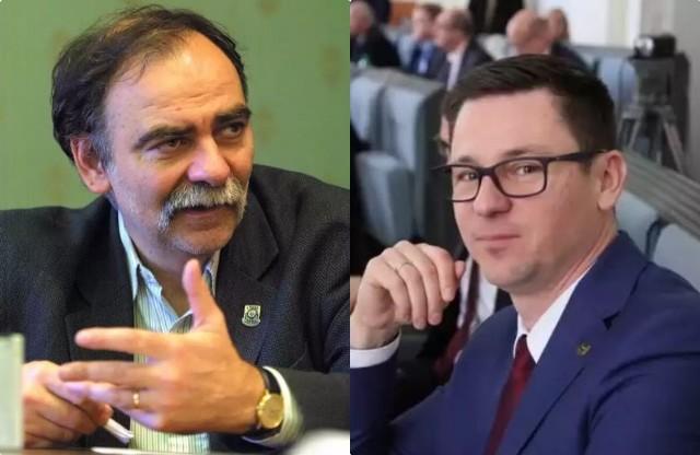 Po lewej Bohdan Aniszczyk odwołany przewodniczący rady miejskiej Wrocławia. Po prawej Sergiusz Kmiecik nowy przewodniczący.