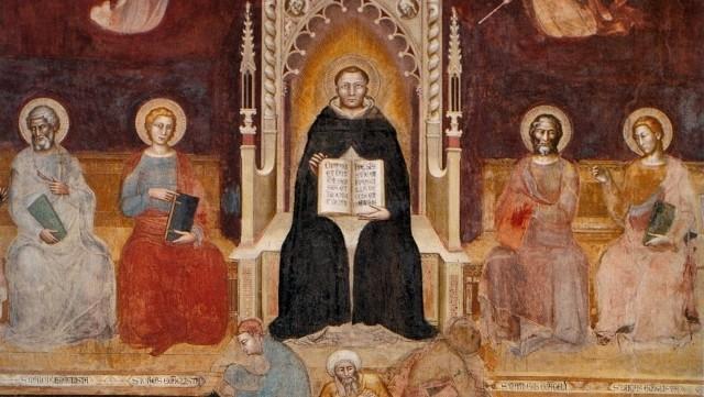 Św. Tomasz z Akwinu twierdził, że kurczaki to zwierzęta wodne (na zdjęciu: fragment fresku z kościoła dominikańskiego we Florencji)