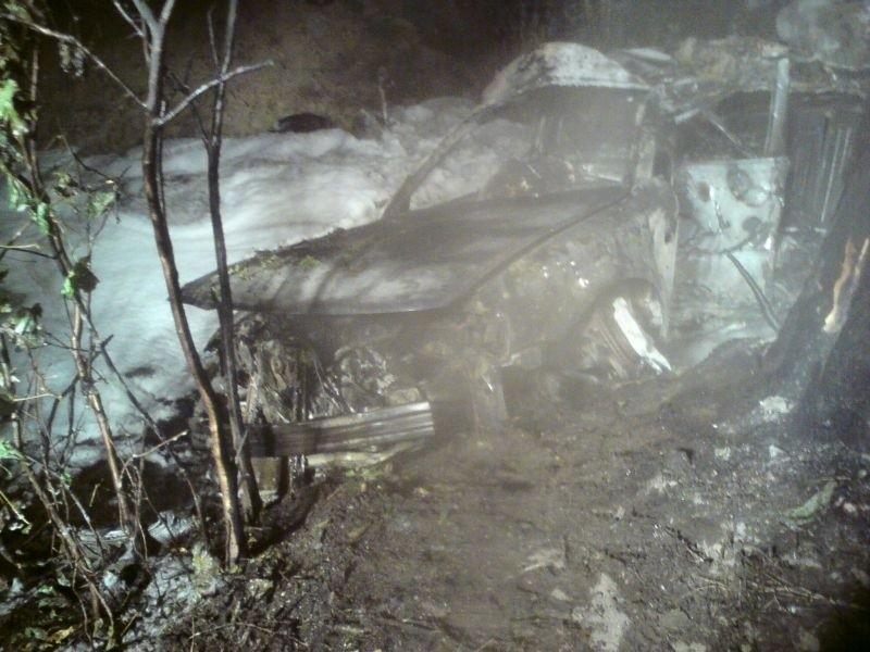 Samochód w wypadku w Radłowie zjechał do rowu i stanąl w...