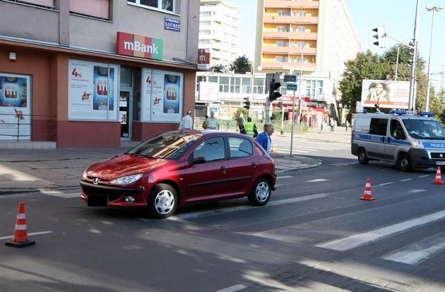 Wypadek na pl. Rodła w Szczecinie.