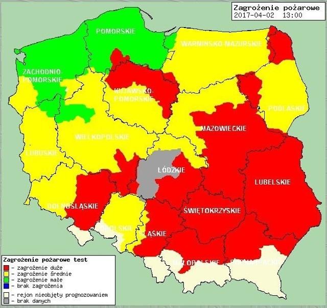 Część województwa objęta jest najwyższym stopniem zagrożenia pożarowego