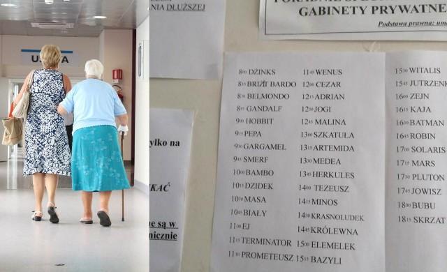 Taka lista pacjentów pojawiła się przed jednym z gabinetów lekarskich.