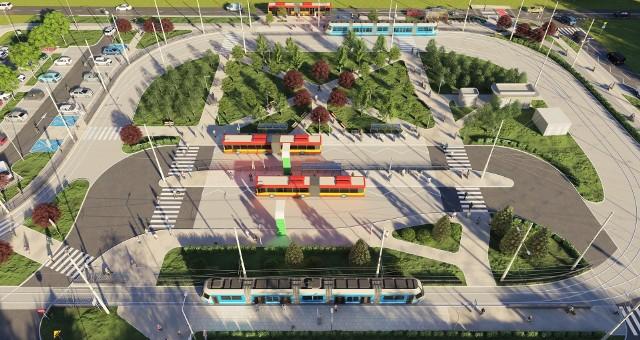 Wizualizacja nowej pętli tramwajowo-autobusowej TAT na Nowym Dworze we Wrocławiu