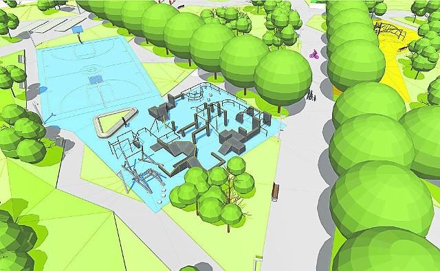 Tak na wizualizacji przedstawia się nowy park z boiskami sportowymi w Czyżynach