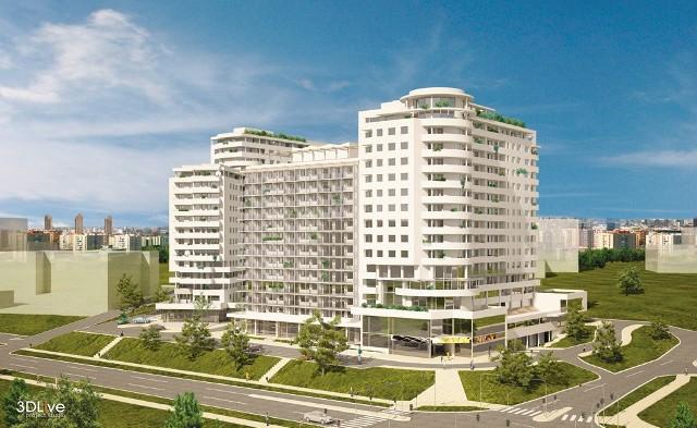 Sun Lofty i Apartamenty Tysiąclecia IITak mają wyglądać Sun Lofty (w środku) i Apartamenty Tysiąclecia II (budynek z prawej). W głębi, z lewej strony, już oddany do użytku apartamentowiec.