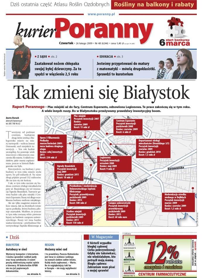 """Papierowe wydanie """"Kuriera Porannego"""" z 26 lutego 2009"""