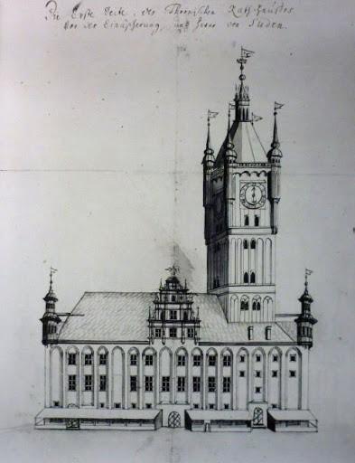 Tak prezentował się hełm na wieży toruńskiego Ratusza Staromiejskiego