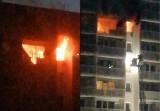 Pożar w Zabrzu WIDEO Kobieta zginęła w płomieniach mimo heroicznej akcji strażaków na 10 piętrze bloku