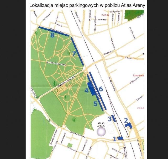 Lokalizacja parkingów w pobliżu Atlas Areny.