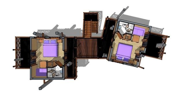 Small House: bliźniakW tym niewielkim domku opartym o drzewa, mieszczą się dwie sypialnie z łazienkami