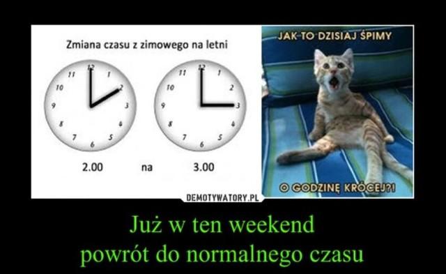 W nocy z 27 na 28 marca zmienia się czas z zimowego na letni. To oznacza, że o godz. 2 w nocy powinniśmy przestawić zegarki z godz. 2 na 3. Utrata godziny może irytować, ale internauci traktują to jako temat do tworzenia prześmiewczych memów i demotywatorów. Zobacz w galerii najlepsze z nich ----->