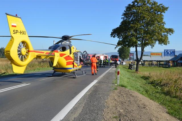 Wypadek, na miejscu interweniuje helikopter LPR, zdjęcie ilustracyjne