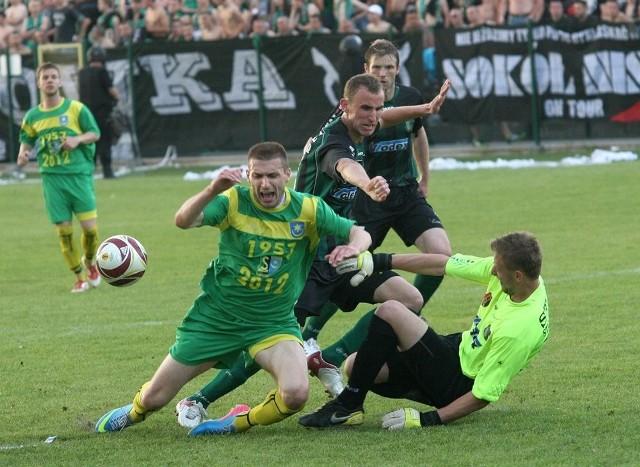 Siarka - Stal Stalowa Wola [MECZ]Siarka Tarnobrzeg (zielono-żółte stroje) przegrała ze Stalą Stalowa Wola 1-2.