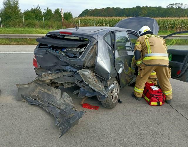 Wypadek na A4 pod Wrocławiem. Jedna osoba została ranna