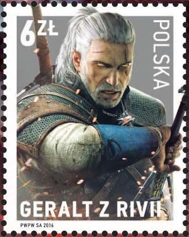 Geralt z Rivii na znaczku pocztowym Poczty Polskiej. Wiedźmin może być wysyłany na cały świat.