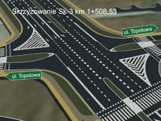 Sześć firm chce budować drugą obwodnicę PrzemyślaWizualizacja skrzyżowania obwodnicy z ul. Topolową.