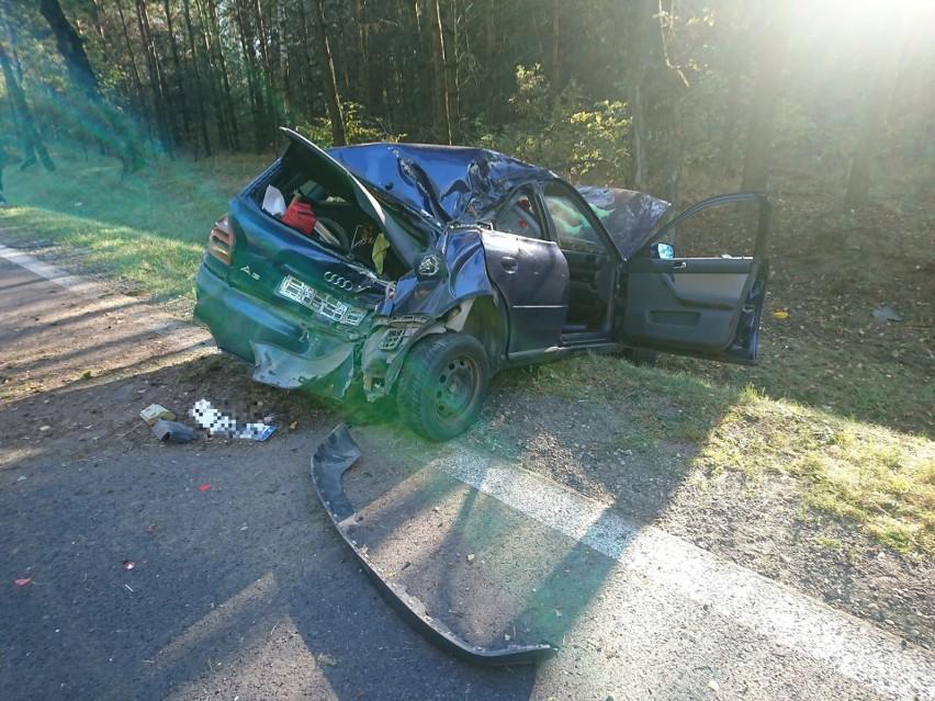 Horodnianka. Audi uderzyło w drzewo. Dwie osoby ranne [ZDJĘCIA]