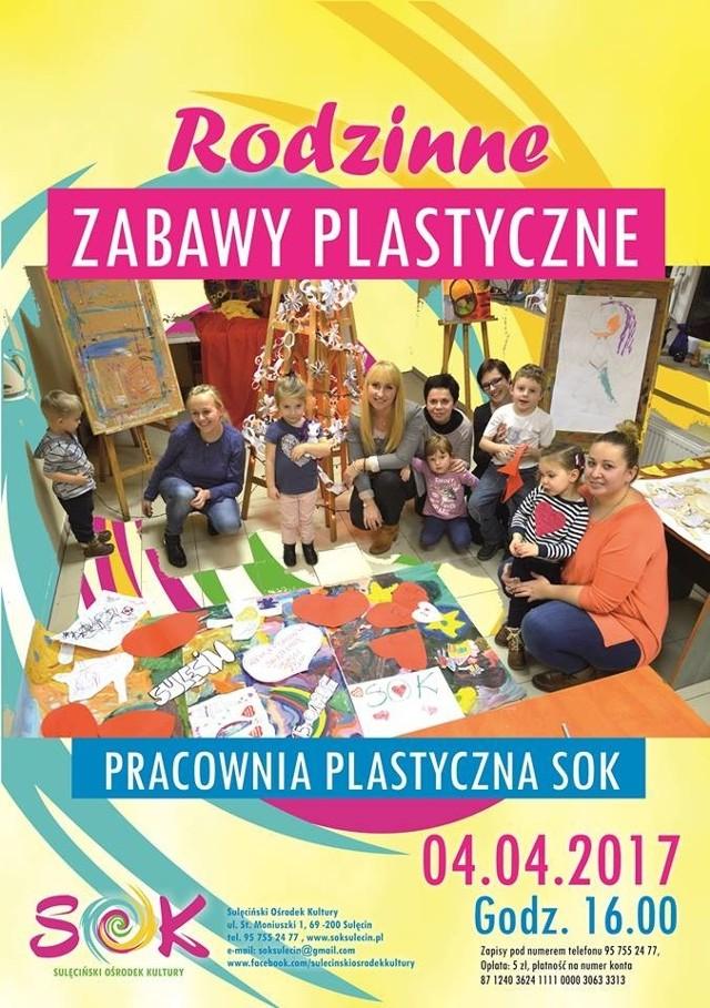"""Sulęciński Ośrodek Kultury serdecznie zaprasza na kolejną, comiesięczną odsłonę """"Rodzinnych zabaw plastycznych""""."""