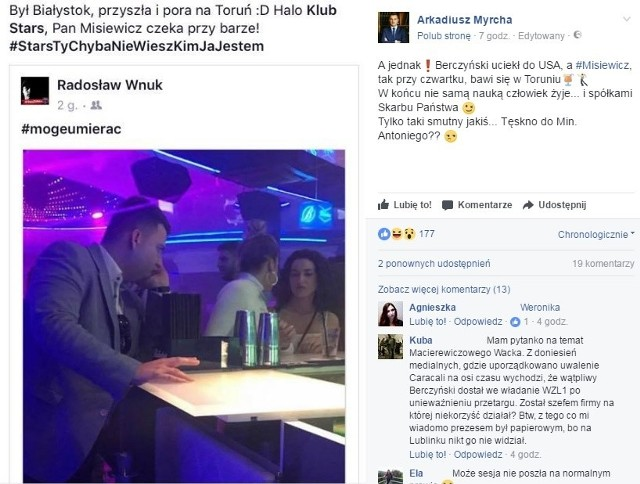 O czwartkowej imprezie Misiewicza poinformował także na Facebooku Arkadiusz Myrcha, poseł PO.