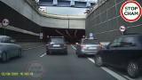 Pięć wykroczeń na jednym nagraniu z tunelu w Katowicach. Kierowca audi skrajnie nieodpowiedzialnym zachowaniem prawie doprowadził do wypadku