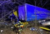 Tragiczny wypadek na DK92. Ciężarówka uderzyła w drzewo. Nie żyje kierowca z Ukrainy