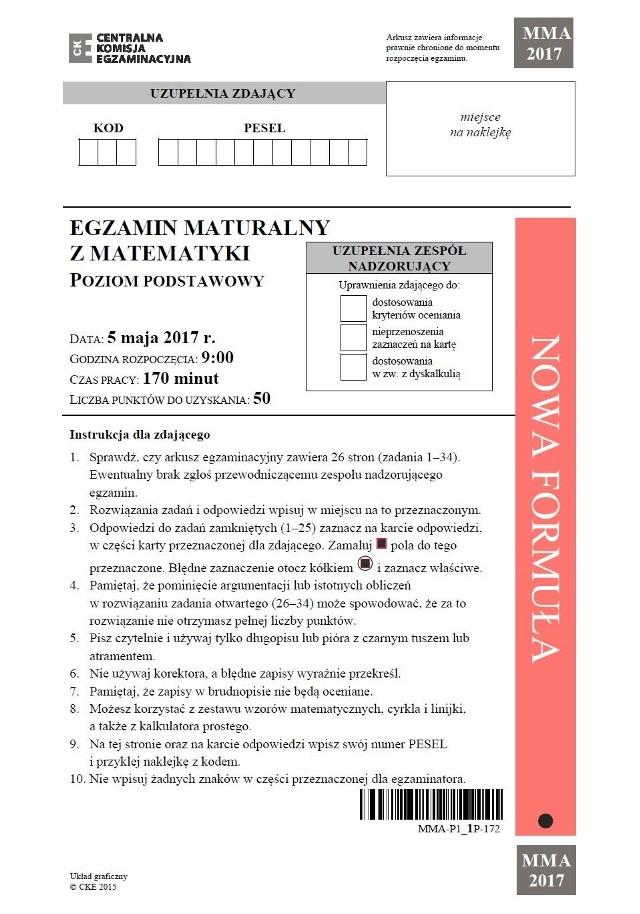 Matura 2017 - matematyka podstawowa - oficjalny arkusz CKE
