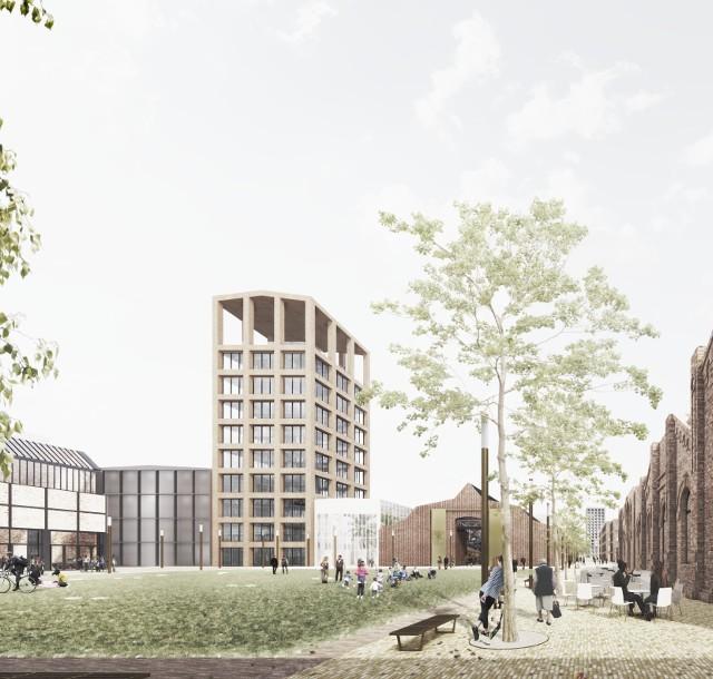 Tak ma wyglądać nowe śródmieście Dąbrowy Górniczej, a na razie gotowe jest centrum multimedialne, które powstało w dawnym warsztacie Dąbrowskiej Fabryki Obrabiarek DEFUM