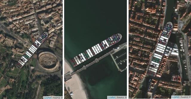 400-metrowy kontenerowiec Ever Given w ubiegłym miesiącu zablokował Kanał Sueski i stał się znany na całym świecie! Teraz możesz zablokować nim dowolne miejsce. Kliknij w galerię i zobacz, jak kontenerowiec Ever Given wyglądałby pod Żurawiem w Gdańsku oraz w innych znanych miejscach w Polsce i na świecie! >>>