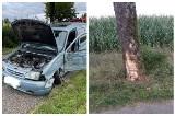 Żydy. Pijany kierowca citroena uderzył w drzewo. Został przewieziony do szpitala [ZDJĘCIA]