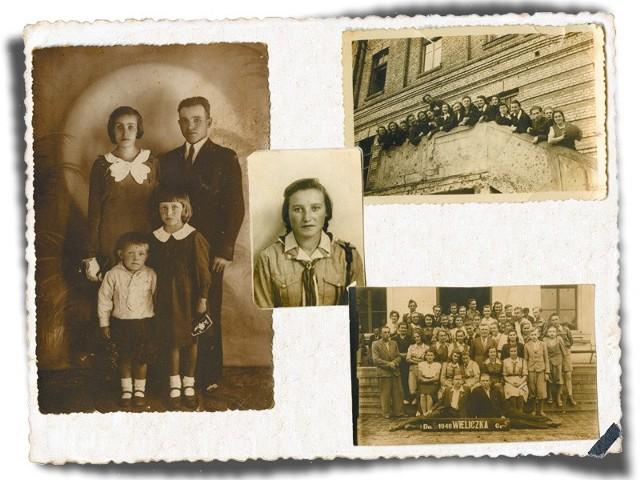 Od lewej: 1. Jeszcze przed wojną. Ja z bratem Lucjanem i rodzice Bolesława i Stanisław Ciuchtowie. 2. Podczas nauki w gimnazjum w 1946 roku. 3. Z koleżankami z Liceum Pedagogicznego w Białymstoku w 1950 roku. 4. Na wycieczce w Wieliczce w 1948 roku.