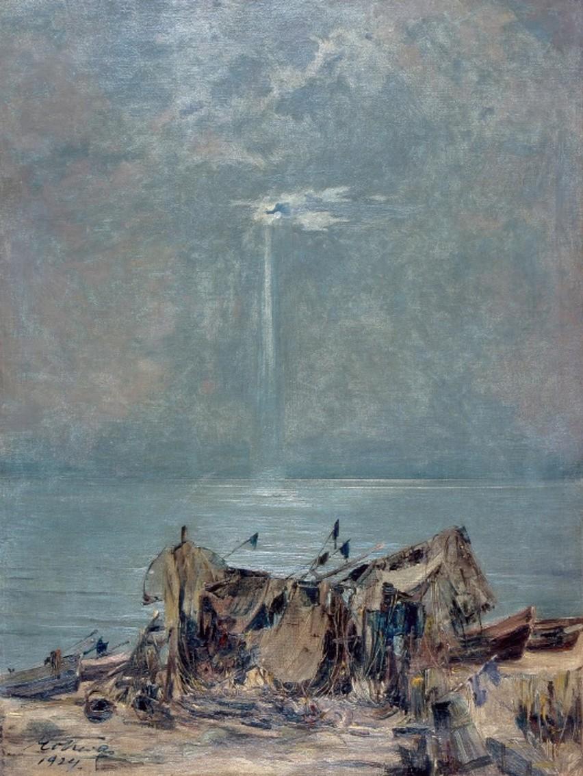 """Marian Mokwa, """"Łodzie na plaży"""", 1924, olej, płótno"""