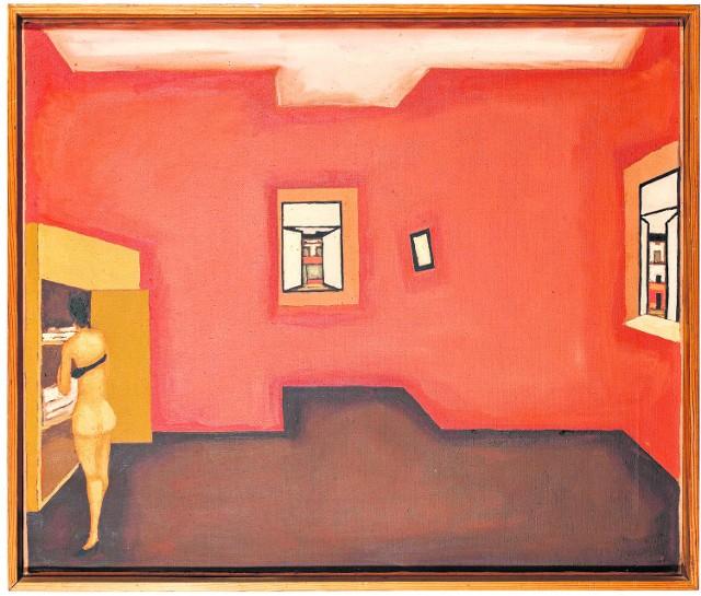 """Jeden z obrazów z wystawy """"Kolekcja Hermansdorferów"""". Jerzy Nowosielski - """"Wnętrze czerwone"""", około 1970 roku"""