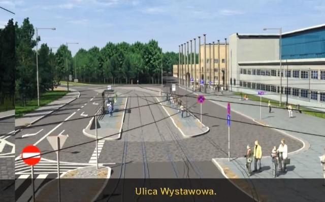 Tak będzie wyglądało torowisko na ul. Wystawowej pod Halą Ludową i IASE
